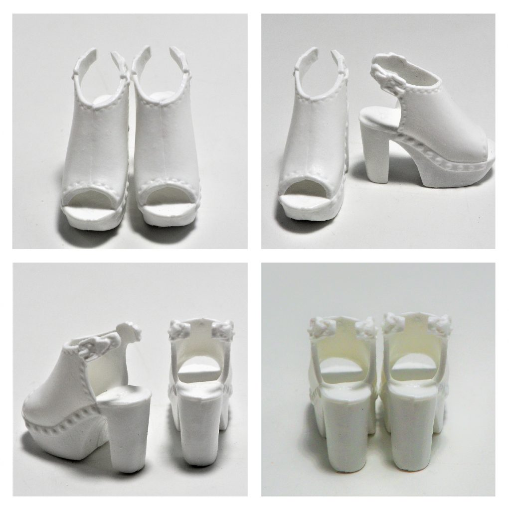 The white shoes have a sling back look and a 'more comfortable' heel