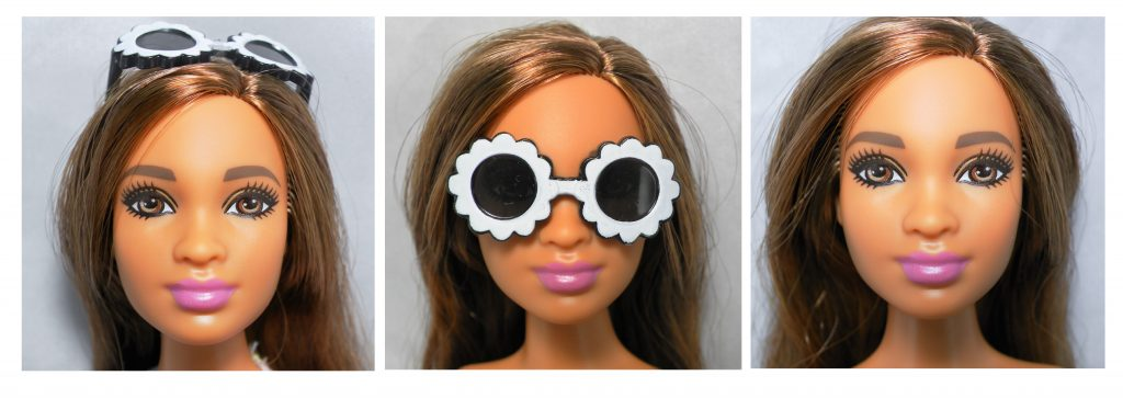 Close up details of her face with sunglasses as originally attached, being worn and sunglasses off